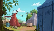 An animation of a camp