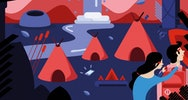 Red and indigo illustration of two people and teepee tents