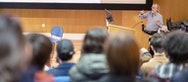 The lecture theatre was fully booked for Peter's talk