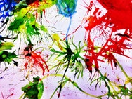 Abstract artwork with red, green and blue paint