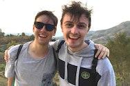 AUB Film Production graduate Ben Harrison with friend Graham Roberts in Thailand.