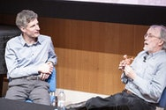 Peter Lord in discussion with BA (Hons) Animation Production Senior Lecturer, and previous Aardman Animator, Richard Haynes
