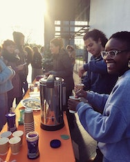 AUBSU officers making hot chocolates for students