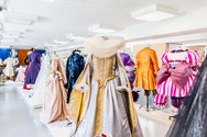 Manikins displaying Victorian-esque  costumes designed by students