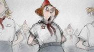 Illustration of a person looking shocked wearing a white and grey uniform, a red hat, neckerchief and a yellow star.