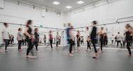 Dance students rehearsing