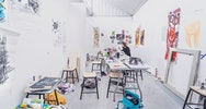 Student working alone in the Fine art studio