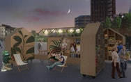 Outdoor food market and kitchen