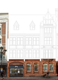 Sketch of a building overlayed with the current building as a photograph