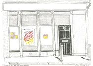 Pencil Sketch of a shop front.