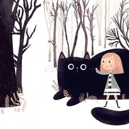 girl with a black cat illustration