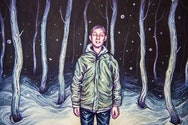 pastel drawing of boy in the woods