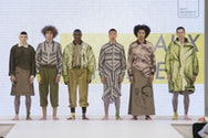 Group of male models on the catwalk