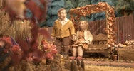 Still of a student film showcasing two puppets, a man and a women