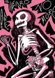 Skelton with pink background