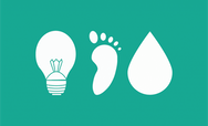 Lightbulb icon, footprint icon and water droplet icon of a green background