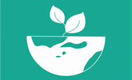 Earth and plant icon on a green background