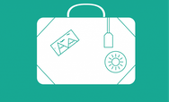 Suitcase icon on a green background