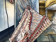 Illustration of a butcher holding meat by a hook