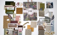 A mood board of various pieces of furniture