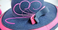 Close up of a ribbon on a hat