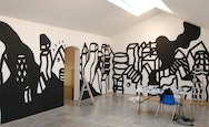 Black and White illustrations on a studio wall