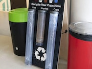 Cup recycling point in one of the campus cafes