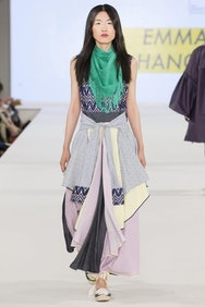 Model with grey dress and green scarf