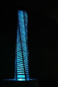 blue highrise building model