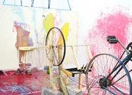 Modern art scene with bike wheels