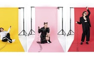 3 fashion portraits of girl on yellow, pink and red backdrops.