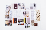 Moodboard of different furniture and materials