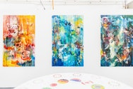 A series of vibrant expressionist paintings