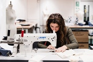 Student using a sewing machine