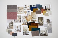 Moodboard with swatches of different coloured fabrics