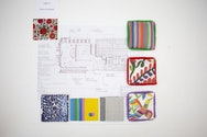 A plan for an interior space with swatches of different fabrics