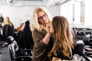 Students working within the make-up studio