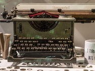 Old fashioned typewriter on a table
