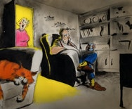 illustration of a living room – there are two chairs, one occupied by an older gentleman wearing blue trousers and brown slippers holding a can of drink. The other chair is occupied by a sleeping orange cat. A woman is standing in the doorway surrounded by yellow light.