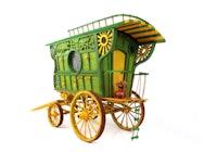 Green wooden caravan