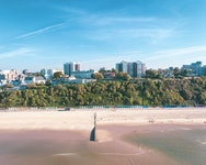 Drone view of the beach from the sea