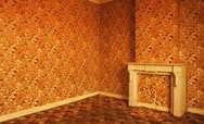 A room covered completely (top to bottom, including a fire place) in floral orange wallpaper
