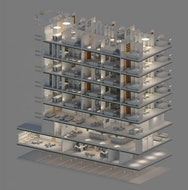 Isometric cross-section of building
