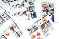 Sketchbooks on table