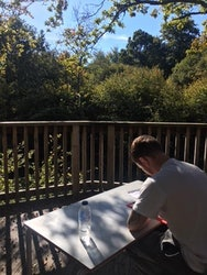 Photograph of student writing in the forest