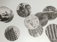 Black and white photographs cut into circles