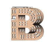 the letter 'B' made up of an illustrated block of flats