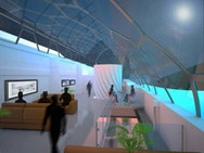 Interior architecture, blue lit seating area