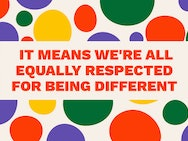 Words reading 'It means we're all equally respected for being different' in a colour circle background