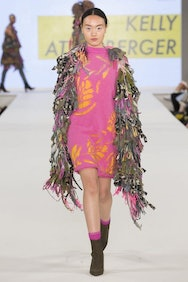 Model wearing pink and yellow dress